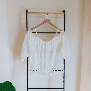 American Eagle Cold Shoulder Blouse with Tassels